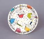 Happy Birthday Plate with Cupcake Design